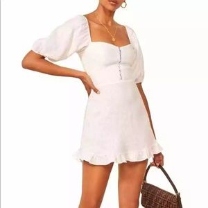 REFORMATION White Seattle Puff Sleeve Dress XS
